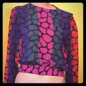 Vintage early 90s crazy bright banded bottom top!